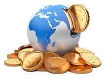地球moneybox和金黄美元硬币 库存图片