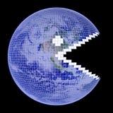 地球pacman框架的地球 库存照片