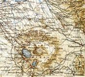 从地理地图集1890与亚平宁山脉的片段,亚平宁半岛的老地图 中央意大利 免版税图库摄影