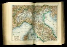 从地理地图集1890与亚平宁山脉的片段,亚平宁半岛的老地图 北部意大利 免版税库存照片