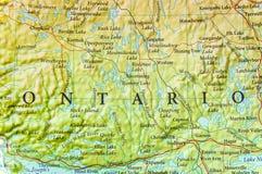 地理安大略地图关闭 库存照片