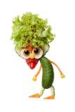 地精由新鲜蔬菜做成在被隔绝的背景 免版税库存照片
