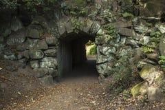地衣在希顿公园盖了在隧道外面的石头 免版税库存图片