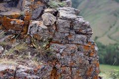 地衣石峭壁 库存照片