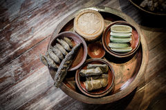 地道泰国食物集合 免版税库存照片