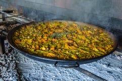 地道瓦伦西亚语肉菜饭在巴伦西亚,西班牙 免版税库存照片