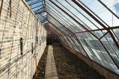 从地道砖和铁重建的历史的墙壁玻璃温室 库存图片