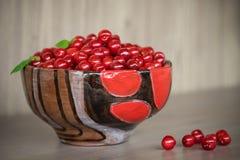 地道陶瓷碗用樱桃 免版税图库摄影