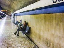 地铁内部视图,罗马,意大利 免版税库存图片