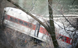 地铁北部火车出轨在布朗克斯 免版税库存图片