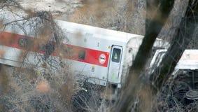 地铁北部火车出轨在布朗克斯 库存照片