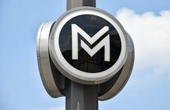 地铁地下标志,布达佩斯,匈牙利 库存图片