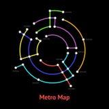 地铁地图围绕稀薄的线路梳理机的标志颜色 向量 皇族释放例证