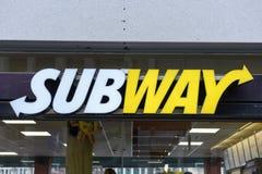地铁快餐标志在瑞士的圣加连 免版税图库摄影