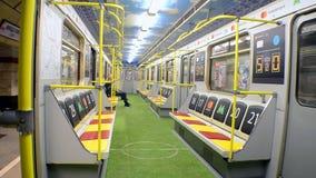 地铁无盖货车设计了与体育场样式在欧洲联赛冠军杯决赛期间2018年在基辅,乌克兰, 股票录像