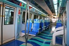地铁火车内部在迪拜阿拉伯联合酋长国 库存照片