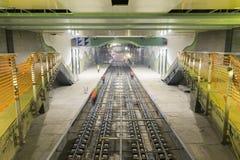 地铁路轨在隧道建筑时 图库摄影