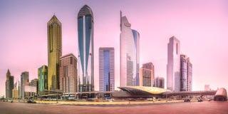 地铁车站在财政区迪拜,阿拉伯联合酋长国 图库摄影