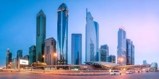 地铁车站在财政区迪拜,阿拉伯联合酋长国 免版税库存照片