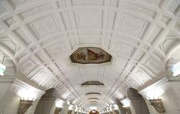 地铁车站Belorusskaya (Koltsevaya线)在莫斯科,俄罗斯 它在30被打开了 01 1952年 免版税图库摄影
