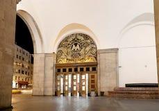 地铁车站Belorusskaya (Koltsevaya线)在莫斯科,俄罗斯 它在30被打开了 01 1952年 免版税库存照片