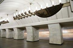地铁车站Chekhovskaya在莫斯科,俄罗斯 它在08被打开了 11 1983年 免版税图库摄影