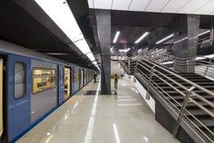 地铁车站Petrovsky公园--是在莫斯科地铁,俄罗斯的Kalininsko-Solntsevskaya线的一个驻地 图库摄影