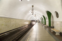 地铁车站VDNKh在莫斯科,俄罗斯 它在01被打开了 05 1958年 图库摄影