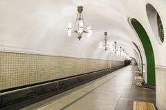 地铁车站VDNKh在莫斯科,俄罗斯 它在01被打开了 05 1958年 免版税图库摄影