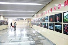 地铁隧道照片陈列 免版税库存照片