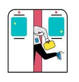 地铁runnung的商人带着手提箱 有礼貌或坏习惯 网的平的设计 滑稽的推车 库存例证