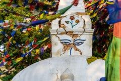 地震在Swayambhunath的损坏的stupa在加德满都 图库摄影