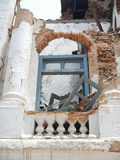 地震毁坏的王宫在Durbar广场,加德满都 免版税图库摄影