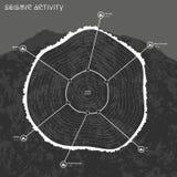 地震活动Infographic与山的在背景 免版税库存图片