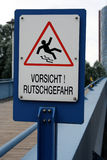 地面符号溜滑警告 库存照片
