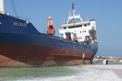 地面货船事故 库存照片