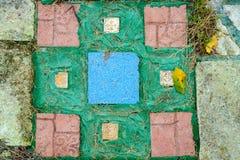 地面顶视图在公园-与秋叶的马赛克的 库存照片