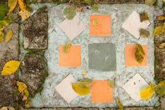 地面顶视图在公园-与秋叶的马赛克的 图库摄影