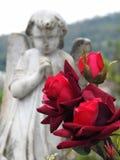 场面在坟园:在前景,玫瑰花束  库存图片