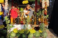 场面在路旁市场上,克罗地亚 免版税库存照片