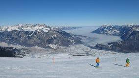 场面在滑雪区域Pizol 免版税库存照片