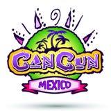坎昆墨西哥-徽章-象征 免版税库存照片