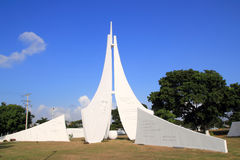 坎昆市关于墨西哥历史记录的雕象纪念碑 库存照片