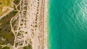 坎昆海滩空中cenital寄生虫 库存照片