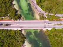 坎昆海滩空中cenital寄生虫 免版税图库摄影