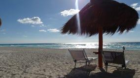 坎昆海滩视图 图库摄影