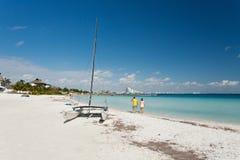 坎昆海滩 免版税库存图片