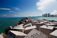 坎昆海滩 免版税库存照片