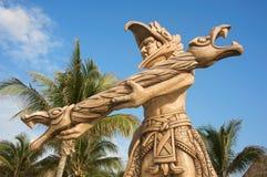 坎昆玛雅最近的雕象 免版税库存图片