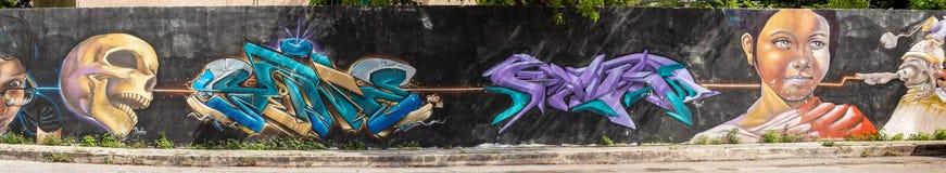 坎昆,墨西哥;2018年8月06日 都市的艺术 皇族释放例证